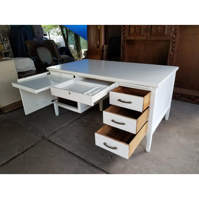 White Mid Century Modern Style Executive Desk For Sale - Image 8 of 13