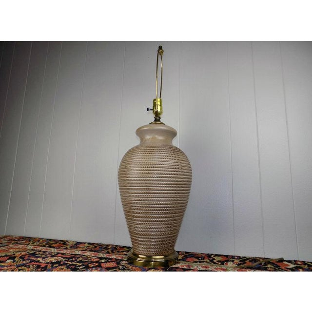 Ceramic 1970s Italian Incised Pottery Table Lamp For Sale - Image 7 of 13