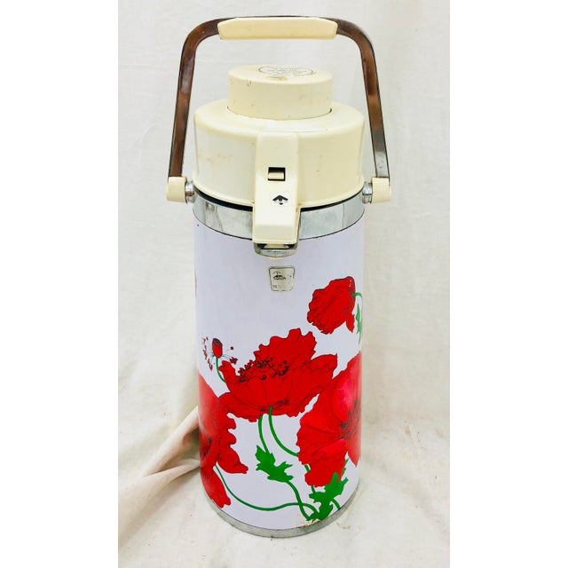 Vintage Red & White Floral Thermos Carafe For Sale - Image 12 of 12