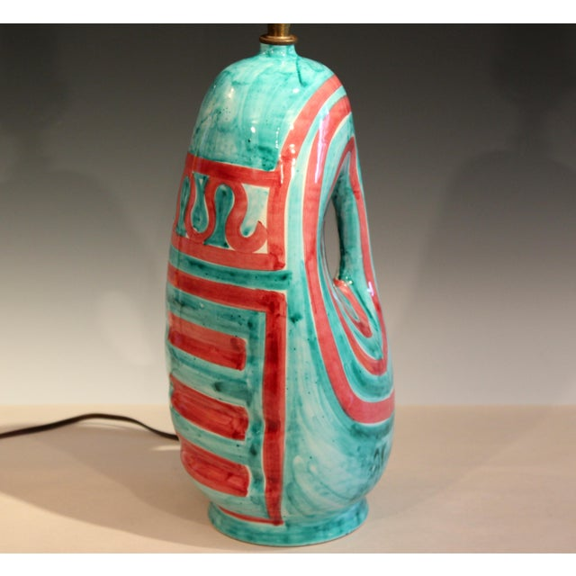 Turquoise Vintage Italian Raymor Pottery Vase Lamp For Sale - Image 8 of 10