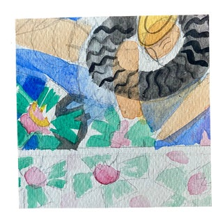 Small Original Pencil & Watercolor Sketch 19 for Summer Mosaics Tiffany's New York For Sale