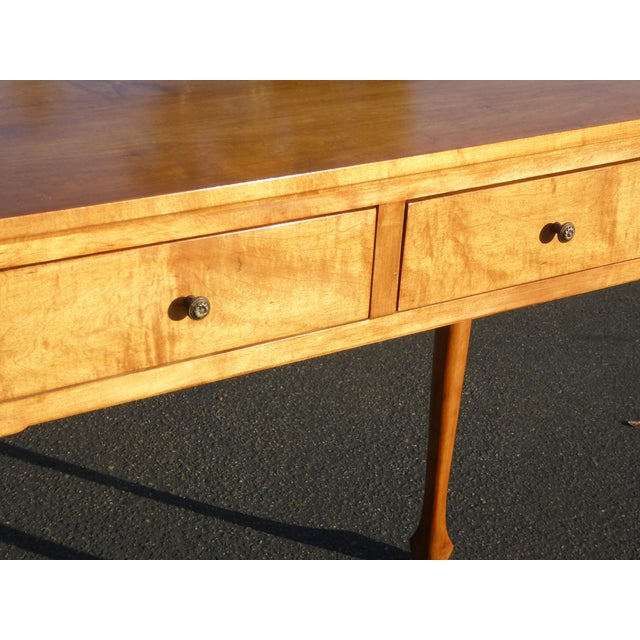 1970s Queen Anne Birch Wood Cedar Lined Two Drawer Writing Desk With Leaf Inlay For Sale - Image 10 of 13