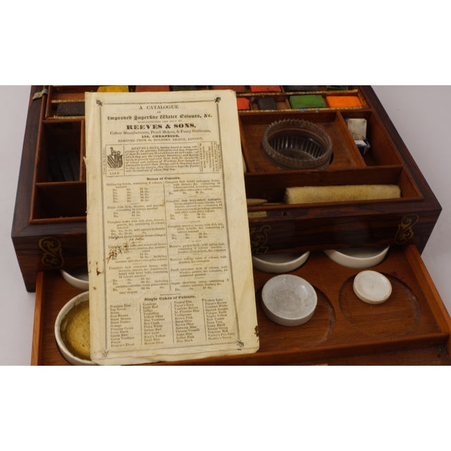 19th Century 19th C. Brass Inlaid Rosewood Artist Box For Sale - Image 5 of 9