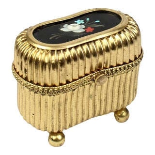 Small Victorian Gilt Metal Dresser or Ring Box with a Pietra Dura Plaque For Sale