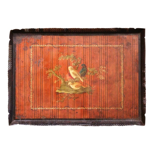 Mid-19th Century French Napoleon III Hand Painted Tole Tray With Bird Motifs For Sale