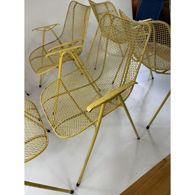 1950s Russell Woodard Mid-Century Modern Sculptura Outdoor Dining Chairs - Set of 6 For Sale - Image 5 of 13