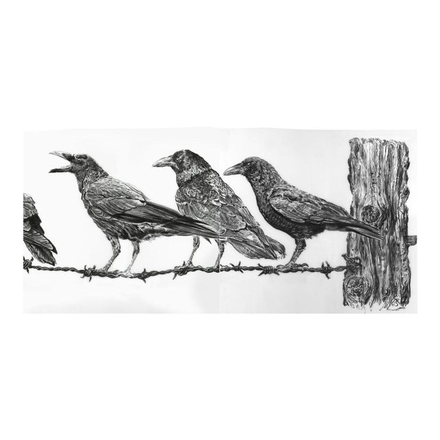 "Contemporary ""Crows on Wire"" Rick Shaefer Charcoal Print For Sale"