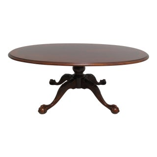 Ethan Allen 18th Century Chippendale Banded Oval Ball Claw Coffee Table For Sale