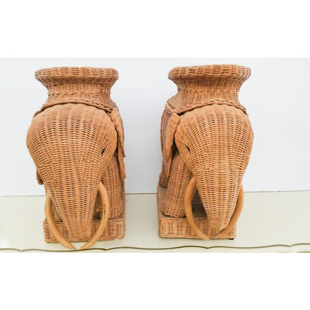 Hollywood Regency Wicker Elephant - A Pair - Image 4 of 6