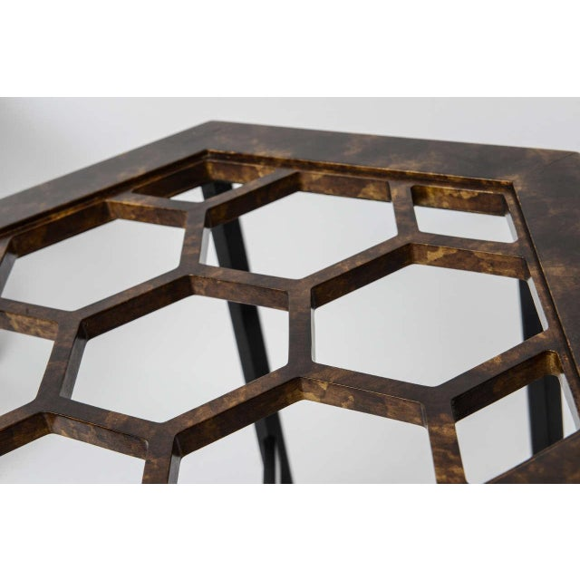 Black 1960s Asian Widdicomb Pair Hexangonal Faux Tortoise Occasional Tables - a Pair For Sale - Image 8 of 11