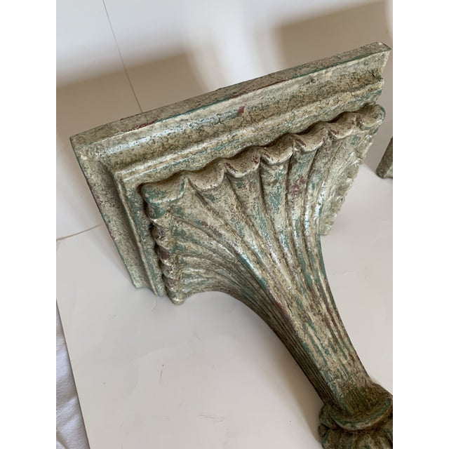 Wood 1950s Vintage Italian Carved and Painted Wood Corbel Brackets - a Pair For Sale - Image 7 of 12