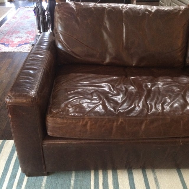 Restoration Hardware Leather Queen Sleeper Sofa - Image 4 of 11