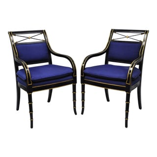Black & Gold English Regency Style Arrow Back Neoclassical Armchairs - A Pair For Sale