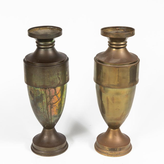 Brass Urn or Vase With Dark Bronze-Like Patina on Weighted Base For Sale In Los Angeles - Image 6 of 6