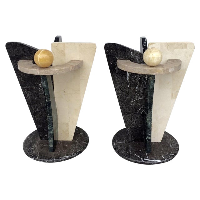 Multicolored Marble/Stone Side Tables - Pair - Image 1 of 7