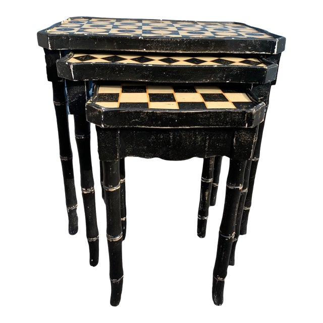 Mackenzie-Childs Style Checkered Original Paint Bamboo Nesting Tables For Sale