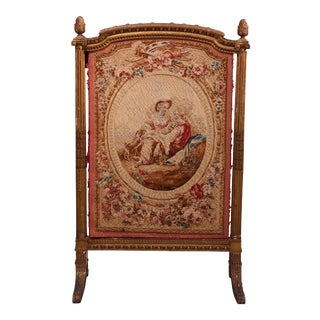 Antique French Giltwood and Pictorial Needlepoint Screen, circa 1850 For Sale