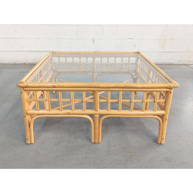 Vintage Boho Chic Rattan Coffee Table For Sale - Image 9 of 9