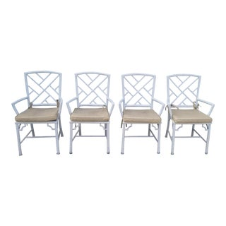 1970s Hollywood Regency Brown Jordan Calcutta Faux Bamboo Dining Chairs - Set of 4