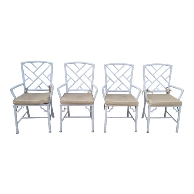 1970s Hollywood Regency Brown Jordan Calcutta Faux Bamboo Dining Chairs - Set of 4 For Sale