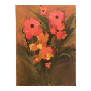 1980s Contemporary Floral Still Life Oil Painting For Sale