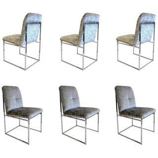 Chrome Dining Chairs by Milo Baughman - Set of 6 For Sale
