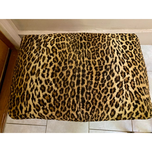 Rustic European Vintage Leopard Print Ottoman For Sale - Image 3 of 6