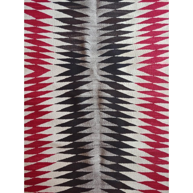 Native American Vintage Navajo Rug W/Red Brown & Beige Design For Sale - Image 4 of 9