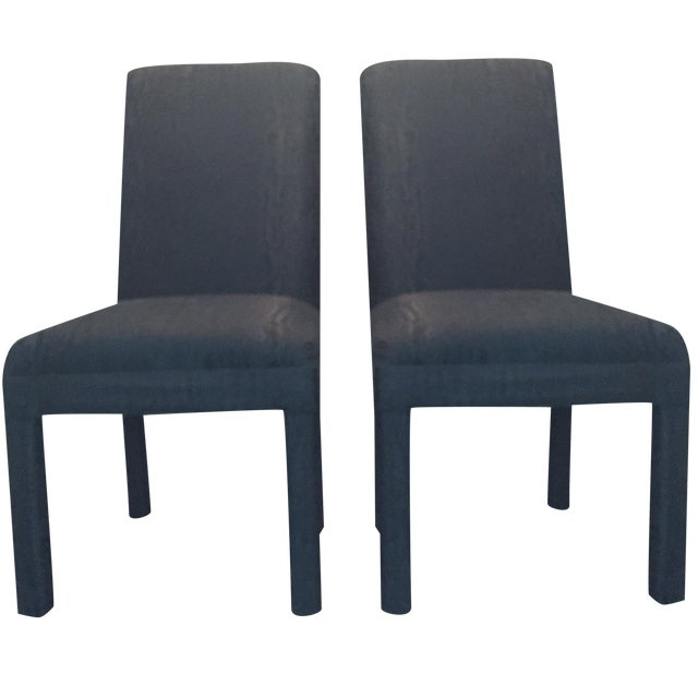Vintage Black Upholstered Parson Chairs - A Pair - Image 1 of 7