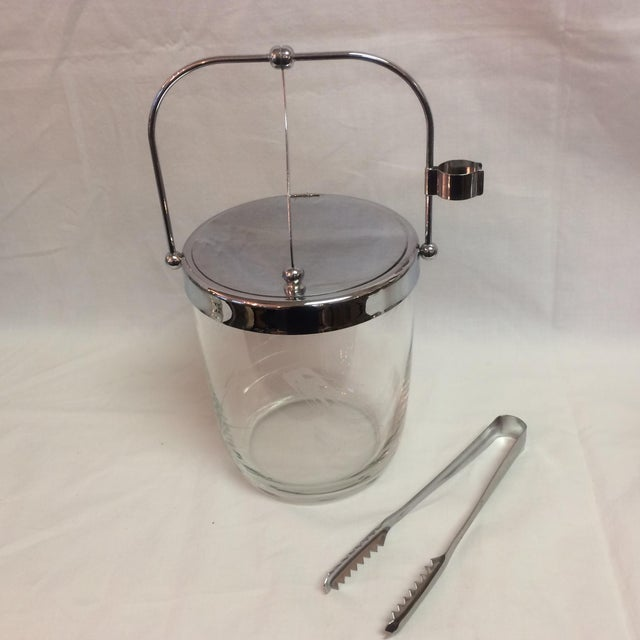 Transparent Sasaki Mid-Century Ice Bucket & Tongs For Sale - Image 8 of 8