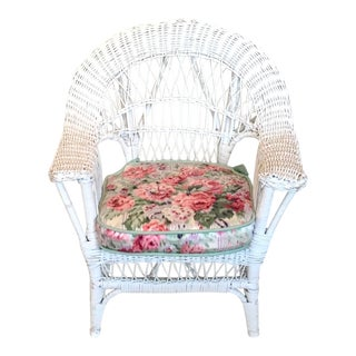Children's White Wicker Armchair With Cushion For Sale