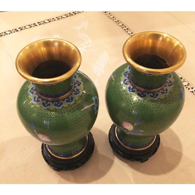 Green & Blue Floral Cloisonne Vases - A Pair - Image 7 of 8