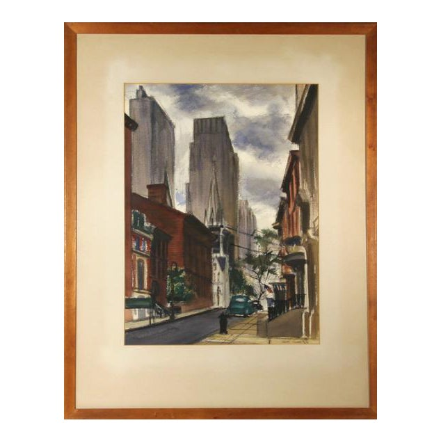 Joseph Barber, New York City Street , Pastel and Watercolor on Paper, Signed For Sale