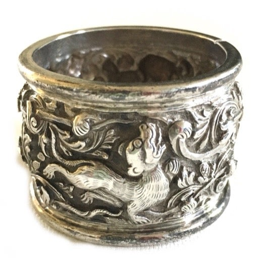 Antique Chinese Dragon Sterling Silver Napkin Ring - Image 1 of 3