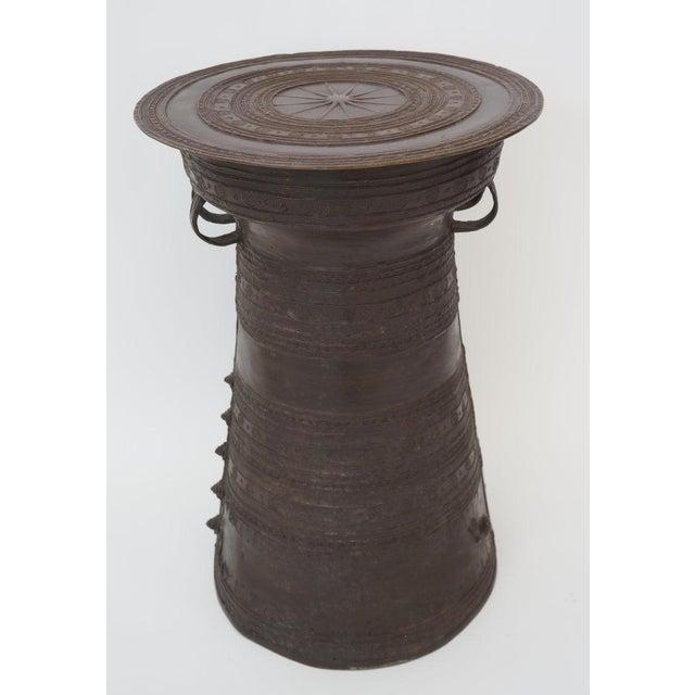 Folk Art Vintage Burmese Rain Drum in Bronze - Side Table or Drinks Table For Sale - Image 3 of 11
