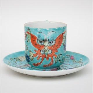 Vintage Japanese Saucer & Chinese Famille Verte Porcelain Tea Cup & Saucer - Set of 3 Preview