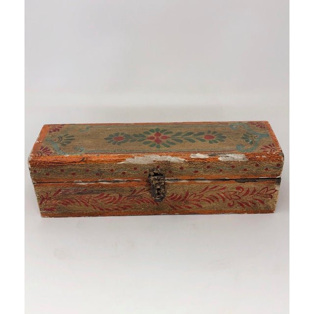 Late 19th Century Antique Indian Painted Wooden Boxes - Set of 3 For Sale - Image 5 of 7