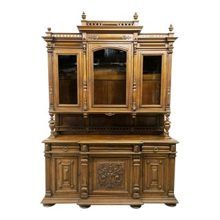 19th Century Antique, Henri II Style Carved Walnut Buffet Deux Corps For Sale
