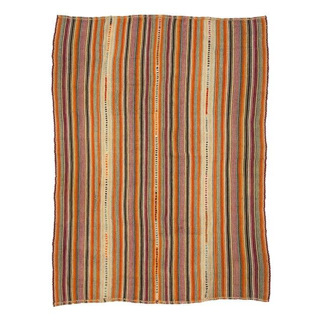 Textile 1960s Vintage Colorful Striped Turkish Kilim Rug- 5′11″ × 8′ For Sale - Image 7 of 7