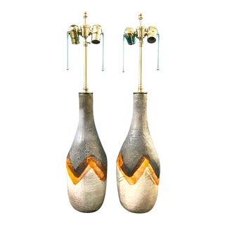 Pair Mid-Century Italian Glazed Terra Cotta Lamps For Sale