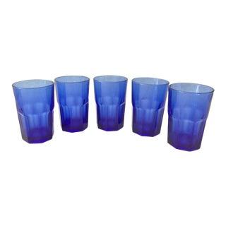 1950's Cresa Numbered Cobalt Glasses - Set of 5 For Sale