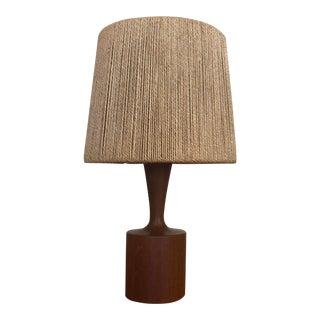 Fog & Morup Danish Teak and Jute Lamp For Sale
