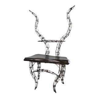 Jason Startup Sculptural Borgantula Reclaimed Metal & Wood Horn Chair For Sale