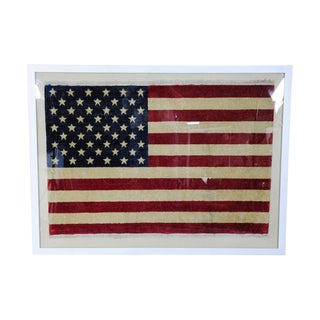 1960's Persian Wave Silk u.s.a. Flag Framed