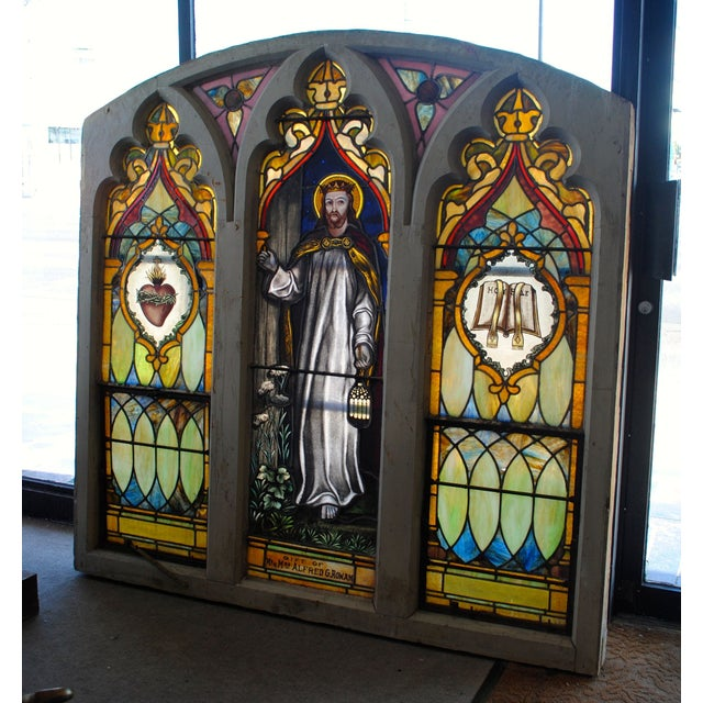 Antique Stained Glass Church Window - Image 2 of 8