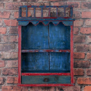 Antique Folk Art Original Blue Painted Hanging Wall Cabinet Preview