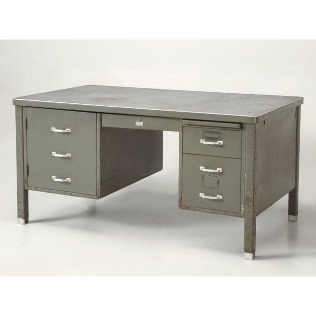 Steel American Industrial Desk in Original Condition For Sale - Image 12 of 12