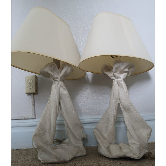 Art Deco John Dickinson or Serge Roche Style Plaster Drapery Lamps- a Pair For Sale - Image 3 of 11