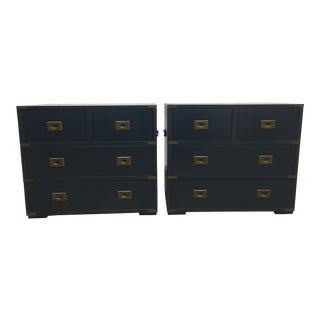 20th Century Campaign Navy Chests - a Pair For Sale