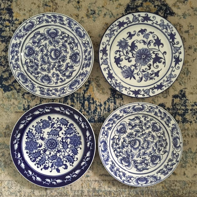 Chinoiserie Blue & White Bombay Asian Garden China Plates - Set of 4 ...